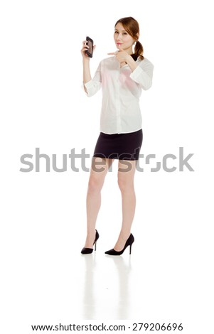 Model isolated pointing to herself - stock photo