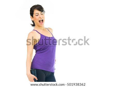 model isolated white background scream loud angry