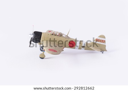 Model kit of an WWII Japanese Navy Zero Fighter isolated in white.