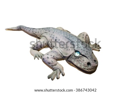 Model large-headed Eryops isolated on white background. It was a prehistoric amphibian genera lived during the early Permian and late Carboniferous Period.One of the largest land animals of their time - stock photo
