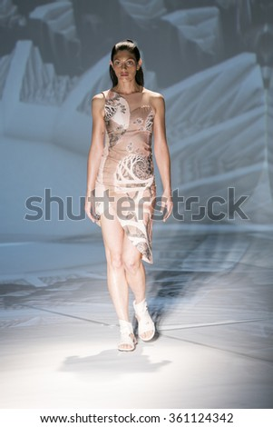 Model Lera Kvasovka walks the runway at the Threeasfour fashion show during New York Fashion Week Spring Summer 2016 at Pier 59 on September 14, 2015 in New York City - stock photo