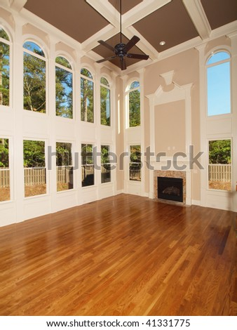 Model Luxury Home Interior Living Room with window wall - stock photo
