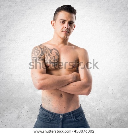 Model man over textured background