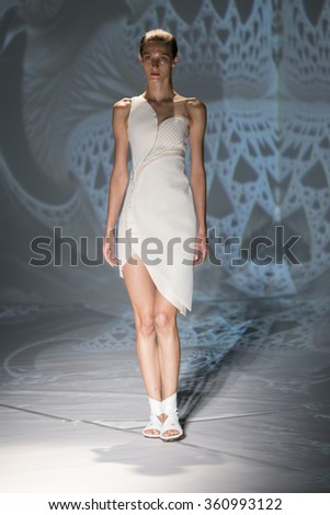 Model Martyna Budna walks the runway at the Threeasfour fashion show during New York Fashion Week Spring Summer 2016 at Pier 59 on September 14, 2015 in New York City - stock photo
