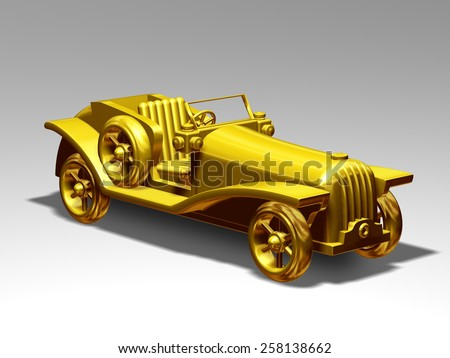 Model of a classic car in gold, perspective view - stock photo