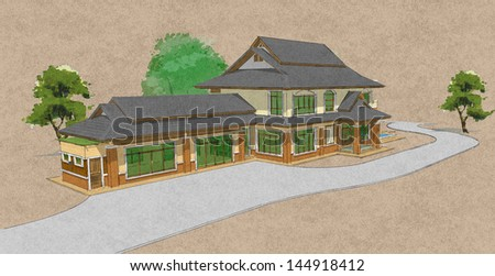 model of a house, Asian-style two layers house draft. - stock photo