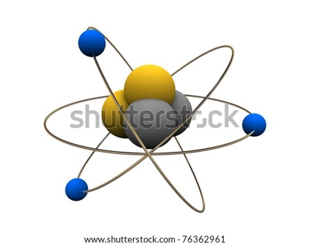 Model of abstract atom - stock photo