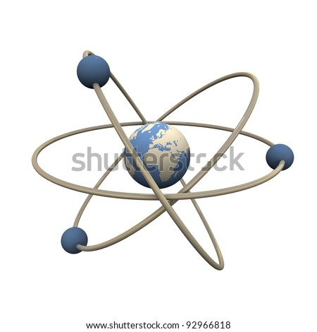 Model of abstract atom. Center is Earth. - stock photo