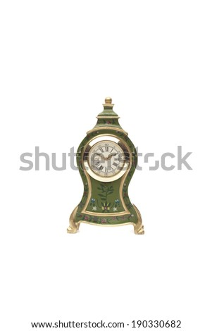 Model of antique clock isolated on white background