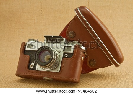 Model of classical 35 mm camera in the middle of the nineteenth century - stock photo