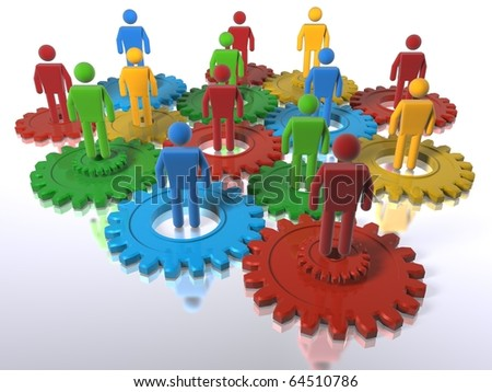 Model of 3D figures on connected cogs symbolising a team - emphasis on diversity