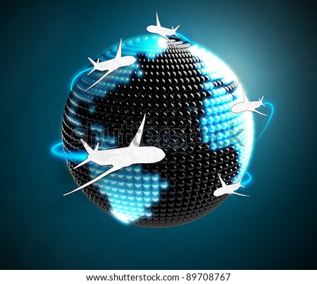 Model of Earth made of  color beads with aircraft flying around. Airplane routes on world map.The metaphor of international air travel around the world - stock photo