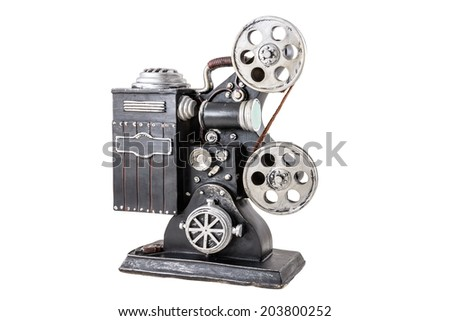 Model of film projector on the white background - stock photo