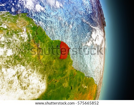 Model of French Guiana from Earth's orbit in space. 3D illustration with highly detailed realistic planet surface and clouds in the atmosphere. Elements of this image furnished by NASA.