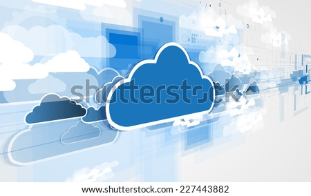 Model of Integration technology with cloud in the sky. Best ideas for Business presentation - stock photo