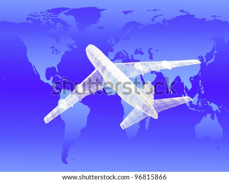 model of jet airplane on worldmap background. Concept - global travel.