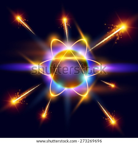 model of the atom and orange sparks around - stock photo