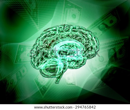 Model of the human brain. Human Brain Project. Business of idea.