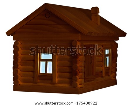 model of village wooden log house at night isolated on white background