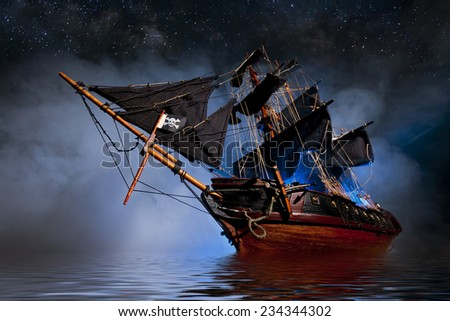 Model Pirate Ship with fog and water - stock photo