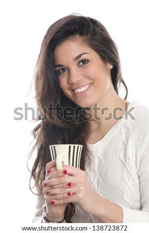Model Released. Young Woman Drinking Tea