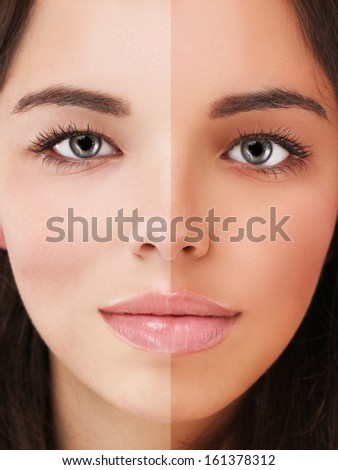Model's face divided in two parts - tanned and natural. - stock photo