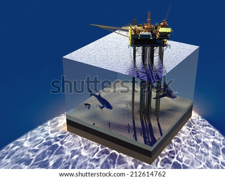 Model sea and oil. - stock photo