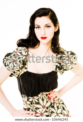 Model shot in the retro-vintage style, set: studio. - stock photo