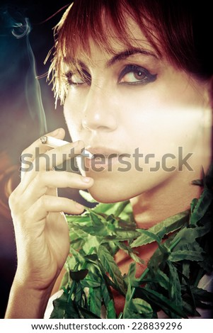 Model smoking - stock photo