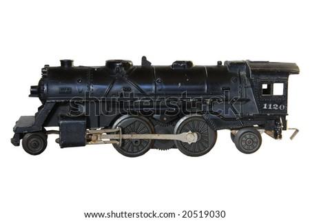 Model steam train over white background - stock photo