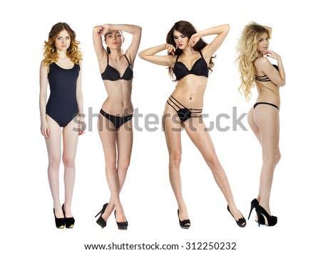 Model tests, Four Young slim women posing in sexy underwear, isolated white background - stock photo