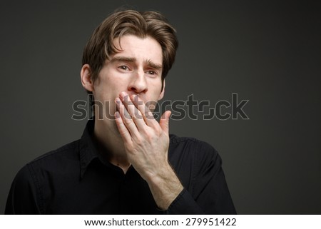 Model tired yawning - stock photo