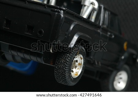 Model toy of black color pick up car represent the toy and vehicle concept related idea. - stock photo
