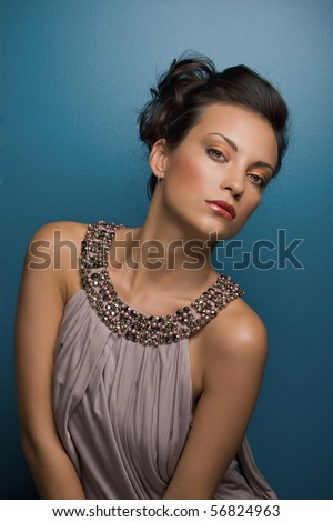 Model Val posing for makeup shoot - stock photo