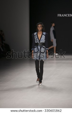 Model walks the runway for Francesca Liberatore Fashion Show Fall Winter 2015 Collection during Mercedes Benz Fashion Week 2015 at The Lincol Center on February 18, 2015 in New York City - stock photo