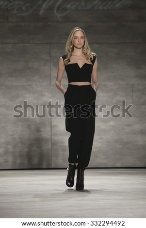 Model walks the runway for Leanne Marshall Fashion Show Fall Winter 2015 Collection during Mercedes Benz Fashion Week 2015 at The Lincol Center on February 18, 2015 in New York City