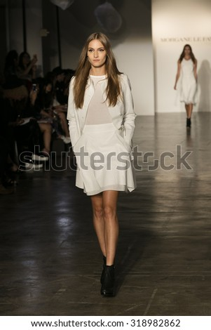 Model walks the runway for Morgane La Fay Spring Summer 2016 Fashion Show at Hudson Studios in New York City during New York Fashion week on September 14, 2015 - stock photo