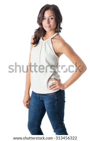 Model wearing halter top and jeans - stock photo