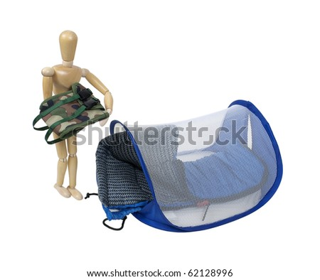 Model With A Backpack And Sleeping Bag Camping Tent For Enjoying The Outdoors