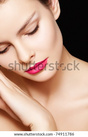 Model with fashion pink lips make-up, clean skin - stock photo