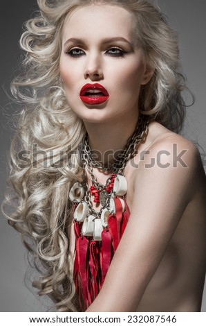 Model with red lips and perfect makeup