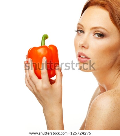 Model with red pepper
