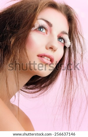 Model with romantic makeup. - stock photo