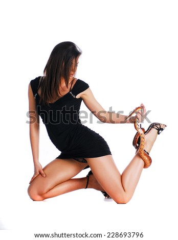 Model with snake - stock photo