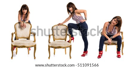Model woman with vintage armchair