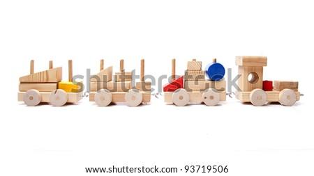 model wood train on white background - stock photo