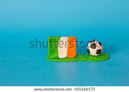 Modeling clay of Ireland Flag with football , National Football Team,Euro 2016 - stock photo
