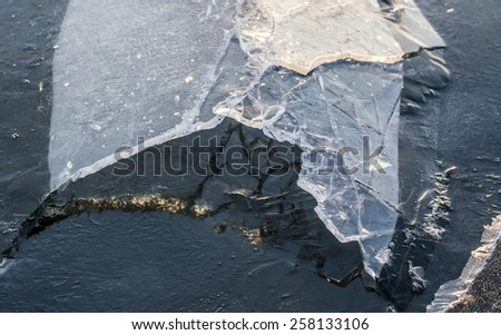 Modelled after the crack of the ice on the lake - stock photo