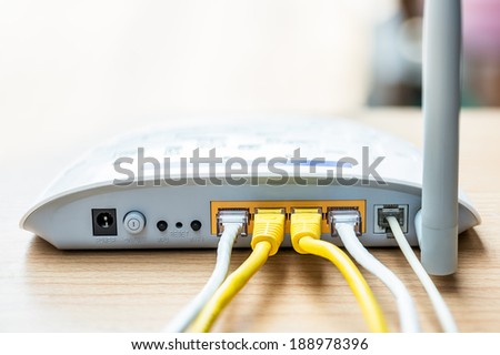 Modem router network hub with cable connecting - stock photo