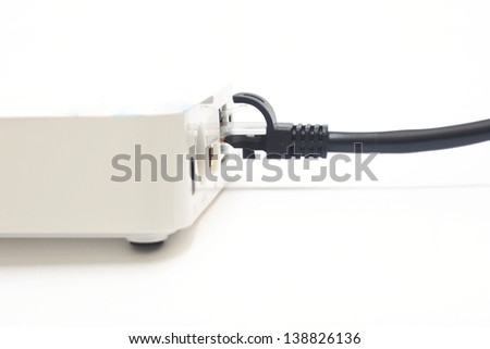 modem with cable on white background